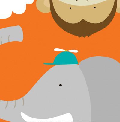 Safari Group: Monkey and Elephant Art by Yuko Lau