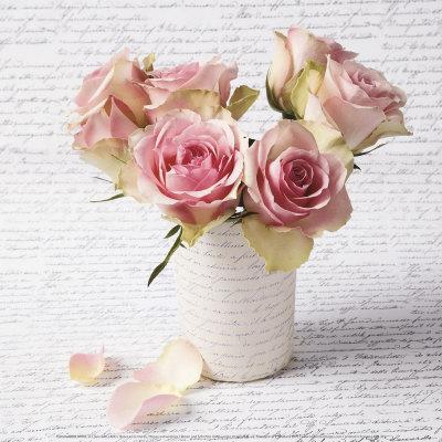 Roses and Writing Art by Louis Gaillard