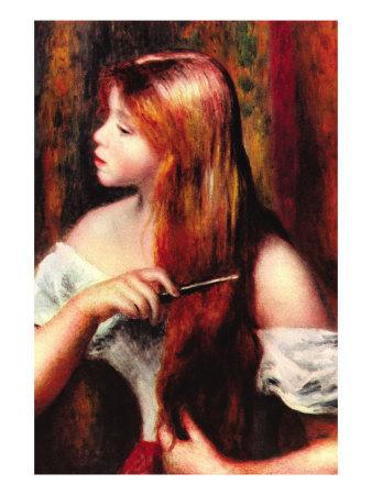 Combing Girl Posters by Pierre-Auguste Renoir
