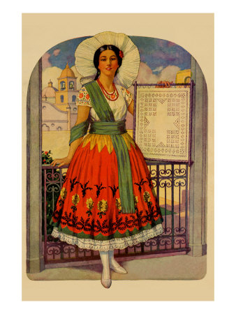Hispanic Holds Up a Lace Design On a Frame Premium Poster