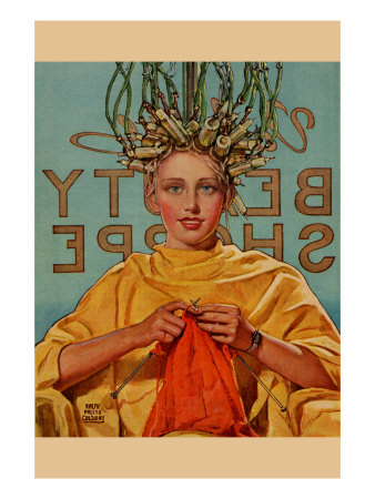 Woman In Curlers Knits Premium Poster