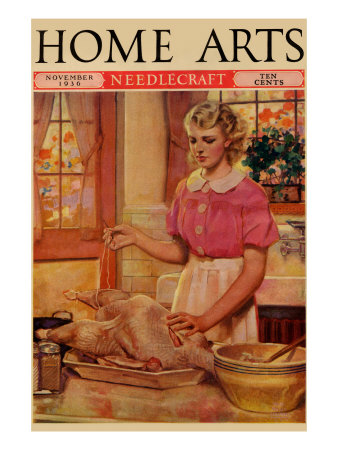 Young Mother Sews Up a Turkey Premium Poster