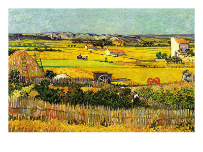 Harvest At La Crau with Montmajour In The Background Premium Poster