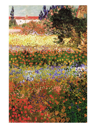 Flowering Garden with Path Premium Poster