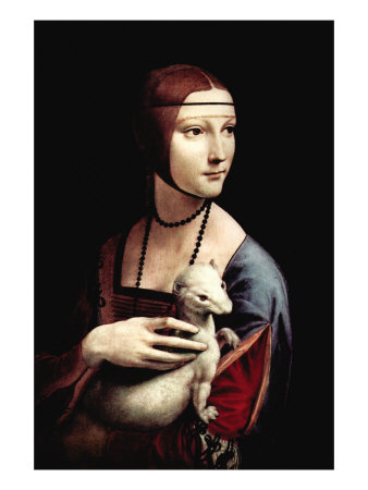 Portrait of a Lady with An Ermine Premium Poster