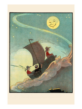 Sailing The Wooden Shoe By Moonlight Premium Poster