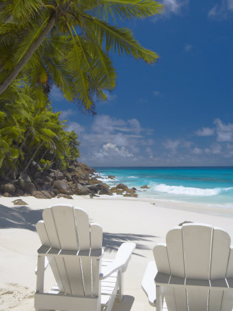 Two Adirondack Chairs on Tropical Beach, Seychelles, Indian Ocean, Africa Photographic Print by Sakis Papadopoulos