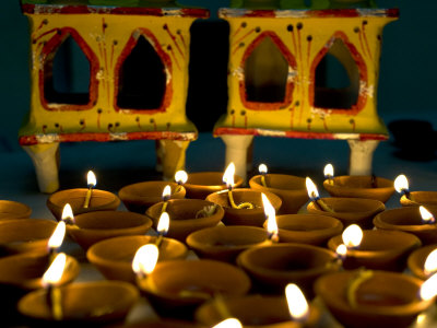 Diwali Deepak Lights (Oil and Cotton Wick Candles) and Shrine Decorations, India, Asia Photographic Print by Annie Owen