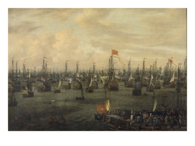The Departure of William of Orange from Briel, 1688 Giclee Print by Abraham Storck