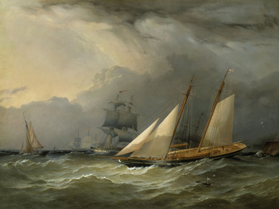 The Brig 'Pearl' and a Schooner of the Royal Yacht Squadron Giclee Print by Charles Gregory