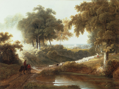 Landscape at Sunset with Drovers and Sheep on a Path Giclee Print by George Arnald