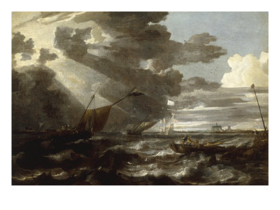 An Estuary Scene in a Gale, with Fishermen hauling in a Fixed Line Giclee Print by Bonaventura Peeters