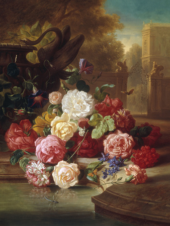 Still Life with Roses, Carnations and a Bohemian Castle in the Background, 1868 Giclee Print by Josef Schuster