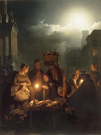 The Poultry Stall in Antwerp at Night Giclée-Druck von Petrus Van Schendel