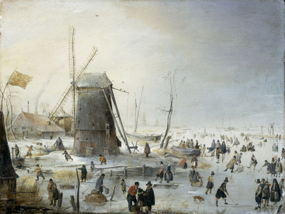 A Winter's Landscape with Skaters Giclee Print by Hendrik Avercamp