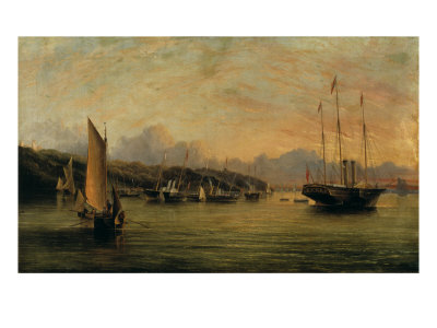 The Arrival of Queen Victoria at Cowes,Isle of Wight, with Osborne House Beyond Giclee Print by Arthur Wellington Fowles