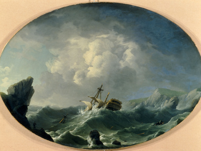 A British Man of War in Rough Seas off a Rocky Coast Giclee Print by Charles Brooking
