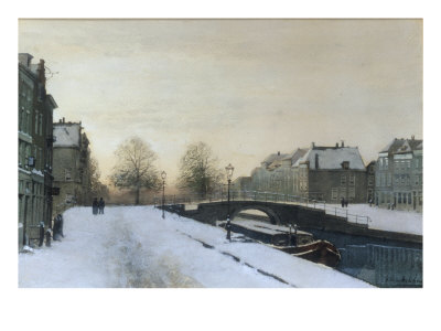 Along the Canal in Winter Giclee Print by Johannes Karel Christian Klinkenberg