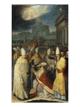 The Procession of Gregory the Great during the Plague in Rome Giclee Print by Cesare Aretusi