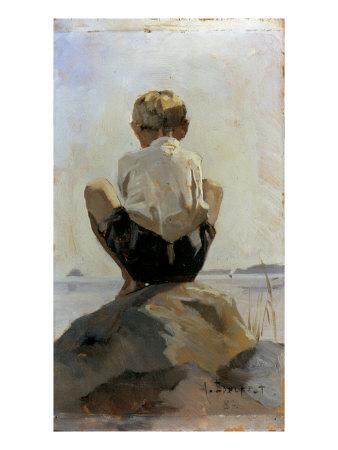 A Boy Crouching on a Rock Giclee Print by Albert Edelfelt