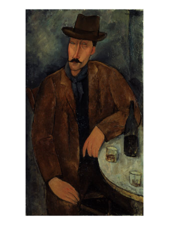 L'Homme au Verre de Vin, c.1918-19 Giclee Print by Amedeo Modigliani