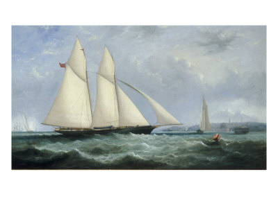 The Schooner Yacht 'Cambria', 188 Tons, Racing off Ryde, 1868 Giclee Print by Arthur Wellington Fowles