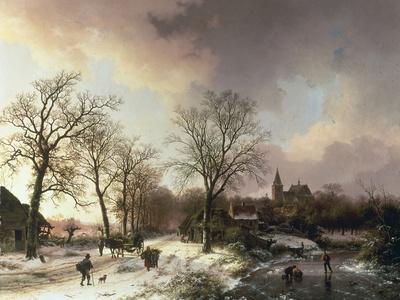 Figures in a Winter Landscape, 1842 Giclée-tryk af Barend Cornelis Koekkoek