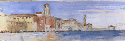 Gondolas Alongside A Palazzo and Bridge in Venice Giclee Print by John Ruskin