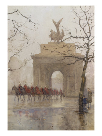Hyde Park Corner, with Household Cavalry, 1918 Giclee Print by Rose Maynard Barton