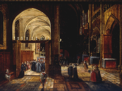 A Capriccio View of a Gothic Cathedral Interior with a Mass being Celebrated in a Side Chapel, 1630 Giclee Print by Hendrik van Steenwyck
