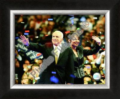 US Sen. John McCain with Republican US vice-presidential nominee Alaska Gov. Sarah Palin Framed Photographic Print