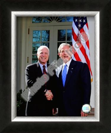 Senator John McCain & President George W. Bush at the White House March 5, 2008, Washington, DC Framed Photographic Print