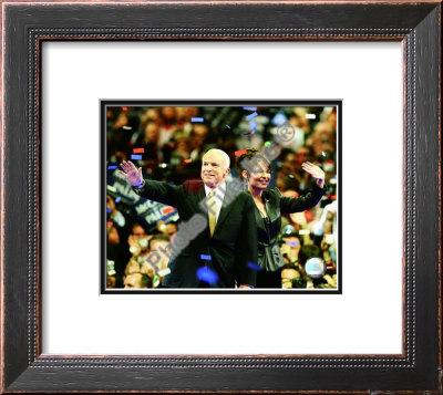 U.S. Sen. John McCain with Republican U.S vice-presidential nominee Alaska Gov. Sarah Palin, Republ Framed Photographic Print