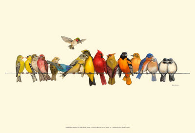 Bird Menagerie I Art by Wendy Russell