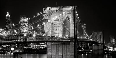 le pont de brooklyn de nuit new york affiches par jet lowe sur. Black Bedroom Furniture Sets. Home Design Ideas