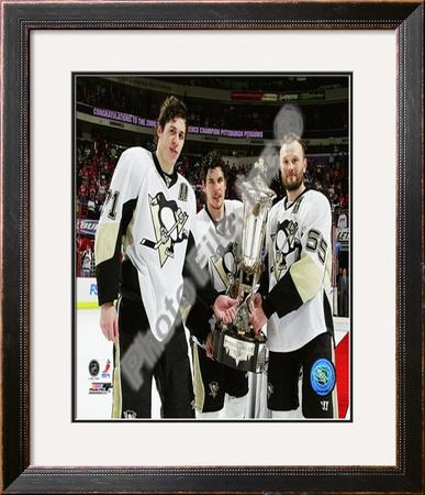 Sidney Crosby, Evgeni Malkin, & Sergei Gonchar - 2008-09 Prince of Wales Trophy Framed Photographic Print