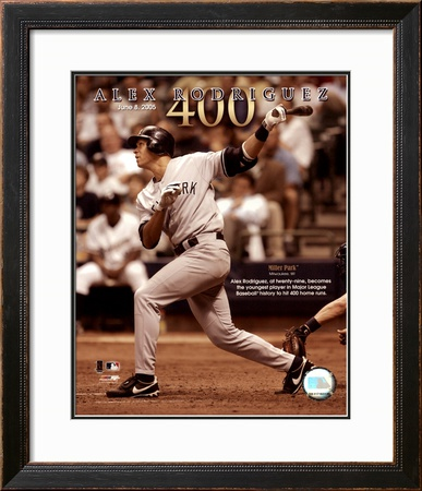 Alex Rodriguez 6/8/05 - 400th Career Home Run Framed Photographic Print
