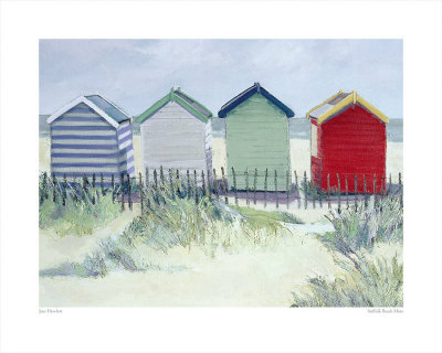 Suffolk Beach Huts Affischer av Jane Hewlett