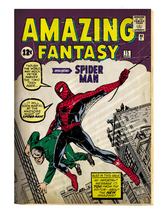 Marvel Comics Retro: Amazing Fantasy Comic Book Cover #15, Introducing Spider Man (aged) Art Print
