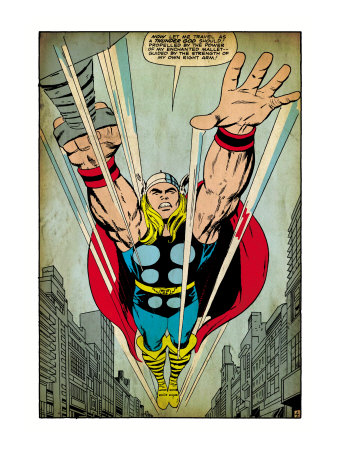 Marvel Comics Retro: Mighty Thor Comic Panel, Flying (aged) Umělecká reprodukce