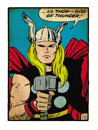 Marvel Comics Retro: Mighty Thor Comic Panel; God of Thunder! Holding Hammer (aged) Kunstdruck