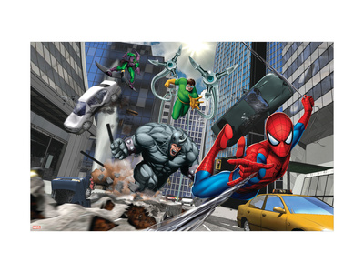 Spider-Man, Rhino, Green Goblin, and Doctor Octopus in the City Art Print