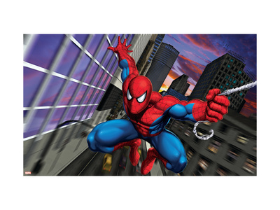 Spider-Man Swinging through the City Art Print