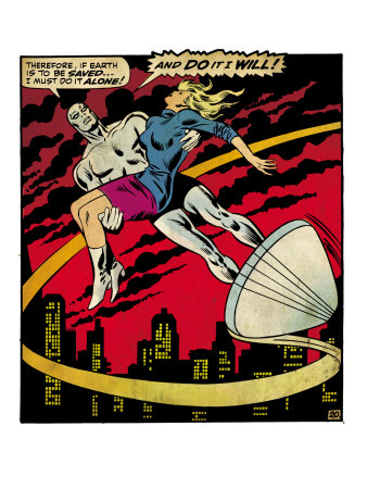 Marvel Comics Retro: Silver Surfer Comic Panel, Saving the girl (aged) Art Print