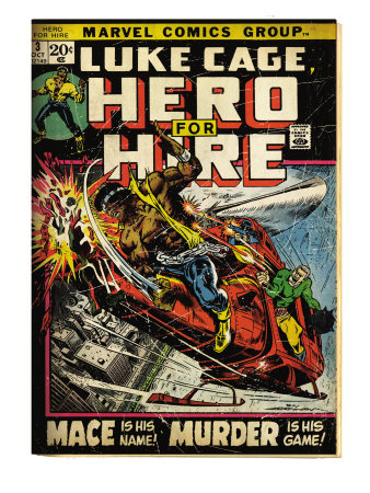 Marvel Comics Retro: Luke Cage, Hero for Hire Comic Book Cover #3, Mace in Helicopter (aged) Reproduction d'art
