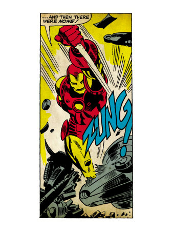 Marvel Comics Retro: The Invincible Iron Man Comic Panel, Fighting, Charging and Smashing (aged) Art Print