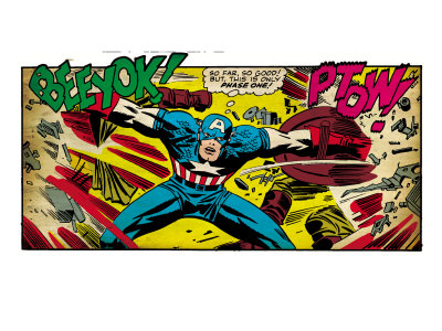 Marvel Comics Retro: Captain America Comic Panel, Fighting, Phase 1, So Far So Good! (aged) Reproduction d'art