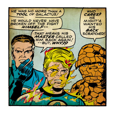 Marvel Comics Retro: Fantastic Four Comic Panel, Mr. Fantastic, Invisible Woman, Thing (aged) Lámina