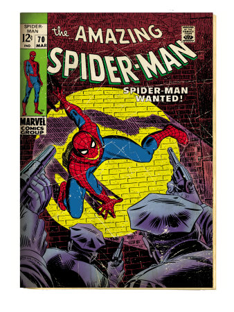 Marvel Comics Retro: The Amazing Spider-Man Comic Book Cover #70, Wanted! (aged) Art Print