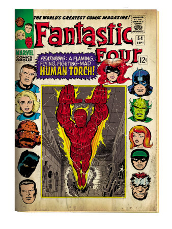 Marvel Comics Retro: Fantastic Four Family Comic Book Cover No.54, Featuring the Human Torch (aged) Kunsttrykk